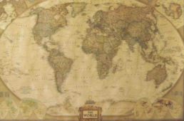 "Juliste ""Vintage Big World Map"" 72 x 42cm"